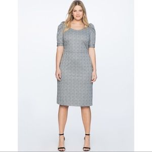 Eloquii Fitted Puff Sleeve Dress 18 Houndstooth